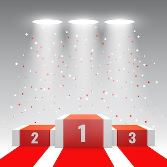 Белые победители подиум с красной ковровой дорожке и конфетти. сцена для церемонии награждения. пьедестал. иллюстрации.