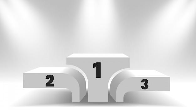 Белые победители подиум с прожекторами. пустой постамент. иллюстрации.