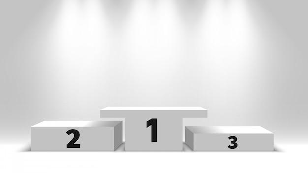 Победители подиума с прожекторами. белый пустой постамент. иллюстрации.