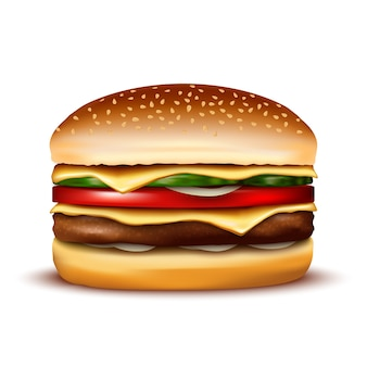 白い背景の上のハンバーガー。図。