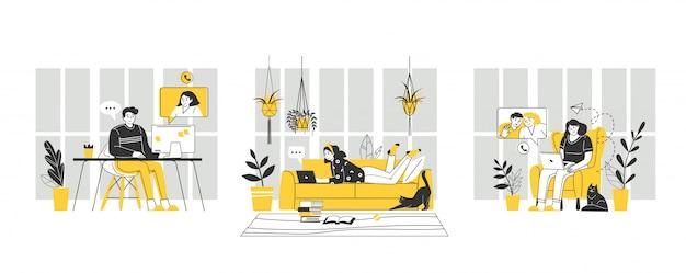 Домашний офис на рабочем месте. цифровая векторная иллюстрация. удаленная работа. оставайтесь дома концепции. коронавирус, карантинная изоляция. технология общения.