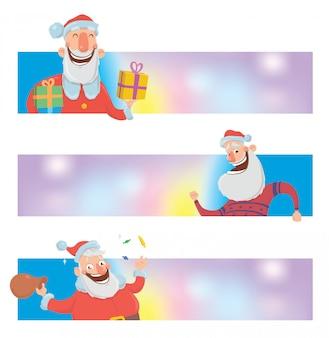 面白いサンタクロースとクリスマスデザインテンプレート。サンタクロースはプレゼントを箱に入れます。クリスマスバナーまたはコピースペースを持つウェブサイトのヘッダー。