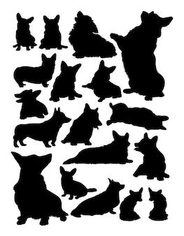 コーギー犬の動物のシルエット
