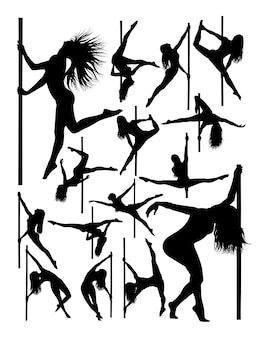 美しいポールダンサーのシルエット