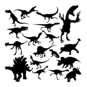 Силуэты динозавров рептилий