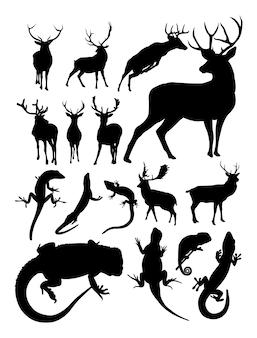 Силуэт оленя и ящерицы