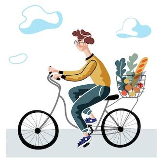 男乗馬自転車イラスト