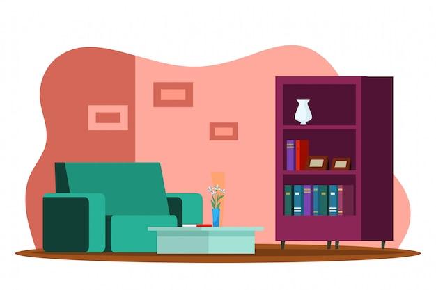 リビングルームのモダンなデザインのインテリア、快適なソファ、コーヒーテーブル、本棚、装飾、花瓶の花、壁の写真、不動産販売、全米リアルター協会加入者の概念