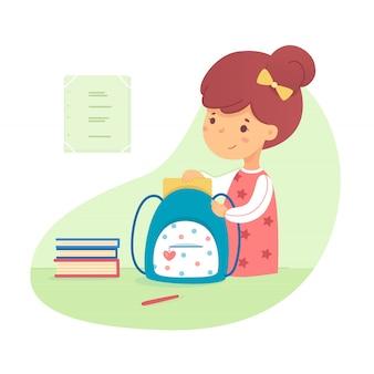 かわいい女子高生はバックパックに本を置きます。子供は学校の準備