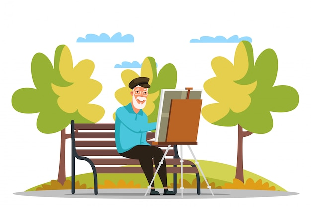 年配の男性が公園でイーゼルに絵を描く