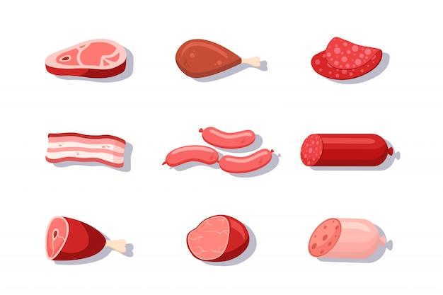 新鮮な肉と肉屋の店の品揃えの漫画イラストセット