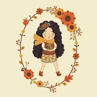 かわいい秋の漫画ガールカード