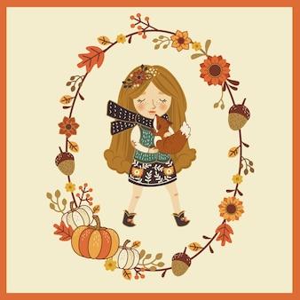 可愛い秋の漫画の女