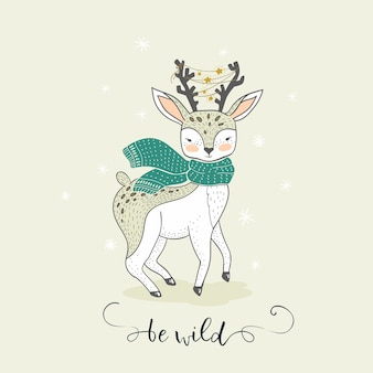 かわいい漫画の冬の鹿。手描きの素敵な動物カード