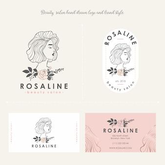 美容院の女性ロゴ、ブランドスタイル