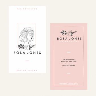 ヘザーレス女性のロゴと訪問カード
