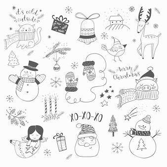 Рождественский ручной рисованной каракули набор