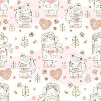 冬子供シームレスパターン。手描きのマウスと女の子