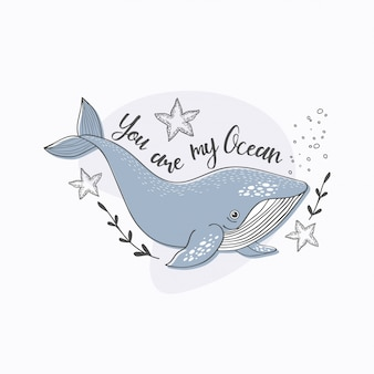 かわいい漫画のクジラのポスター。手描きの海の動物