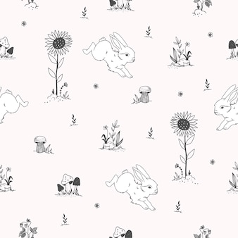ウサギと手描きかわいいシームレスパターン