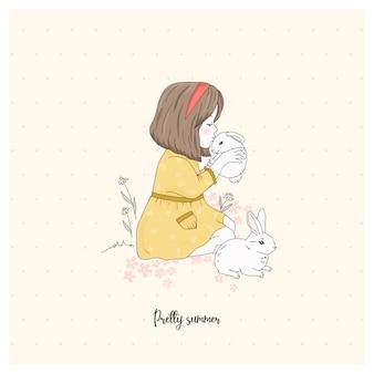 ウサギを持つ少女。イラストを描きます。