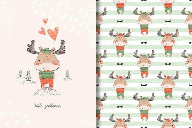 ムースの赤ちゃんカードとのシームレスなパターン。かわいい背景を持つ子供イラスト