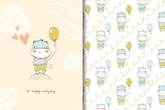かわいいカバの赤ちゃんカードとシームレスなパターン。