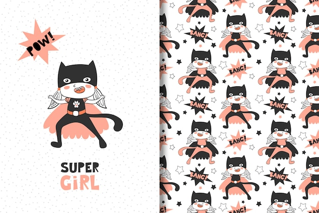 女の子のためのスーパーヒーロー。カードとシームレスなパターン