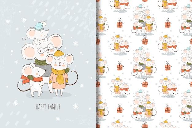 漫画マウス家族イラストとシームレスパターン