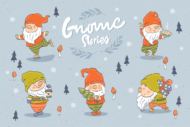 Коллекция персонажей мультфильма милые гномы. рождественский элемент дизайна