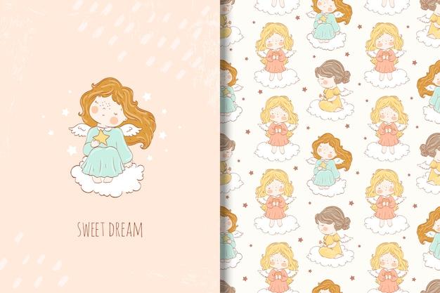クラウドのシームレスなパターンの上に座ってかわいい漫画の天使