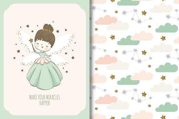 かわいい妖精の漫画のキャラクター。表面設計とシームレスパターン。