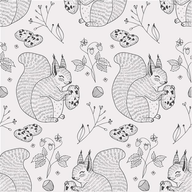 かわいいリス動物クッキーとシームレスなパターン手描き