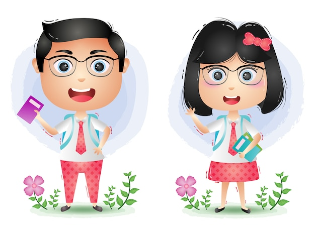かわいい学生カップルキャラクター漫画ベクトル