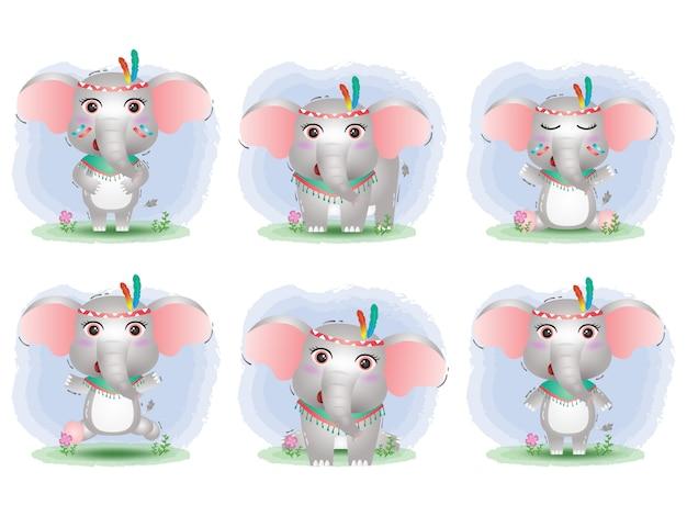 Коллекция милых слонов с костюмом апаша