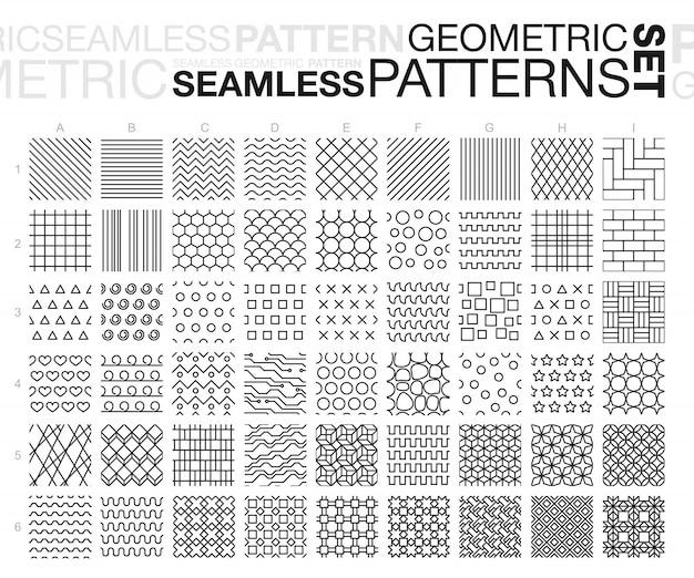 黒と白の幾何学的なシームレスパターン。細い線のモノクロタイルテクスチャセット。図。