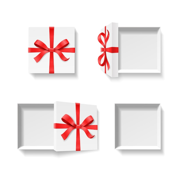 赤い色の蝶結び、白い背景の上のリボンと空のオープンギフトボックス。お誕生日おめでとう、メリークリスマス、新年、結婚式やバレンタインのパッケージコンセプト。イラスト上面図