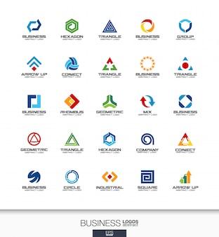 事業会社の抽象的なロゴを設定します。コーポレートアイデンティティの要素。技術、銀行、金融の概念。産業、開発、マーケティングのロゴタイプコレクション。カラフルなアイコン