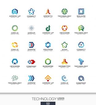 事業会社の抽象的なロゴを設定します。コーポレートアイデンティティの要素。テクノロジー、ソーシャルメディア、インターネット、ネットワークの概念。デジタルコネクトロゴタイプコレクション。カラフルなアイコン