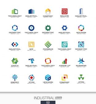 事業会社の抽象的なロゴを設定します。コーポレートアイデンティティの要素。建設、産業、建築コンセプト。仕事、エンジニア、テクノロジーがロゴタイプコレクションを結びます。カラフルなアイコン