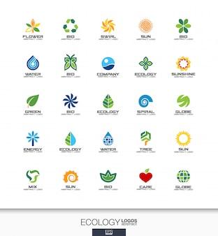 事業会社の抽象的なロゴを設定します。コーポレートアイデンティティの要素。 、生態植物、バイオ自然、木、花の概念。環境、緑、リサイクルロゴタイプコレクション。カラフルなアイコン