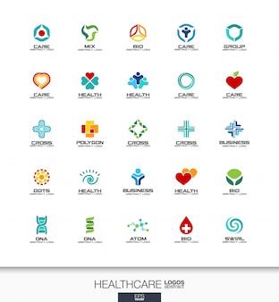 事業会社の抽象的なロゴを設定します。コーポレートアイデンティティの要素。ヘルスケア、医学、薬学のクロスコンセプト。健康、ケア、医療、ロゴタイプコレクション。カラフルなアイコン