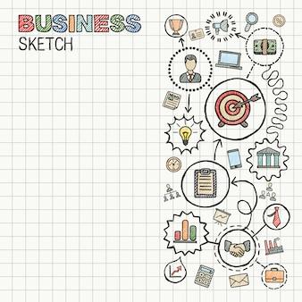 ビジネス手は、統合されたアイコンセットを描画します。カラフルなスケッチインフォグラフィックイラスト。紙に接続された落書きピクトグラム。戦略、ミッション、サービス、分析、マーケティング、インタラクティブな概念