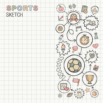 スポーツ手は、紙に設定された統合アイコンを描画します。カラフルなスケッチインフォグラフィックイラスト。接続されている落書きカラーピクトグラム、水泳、サッカー、サッカー、ゲーム、フィットネス、活動の概念