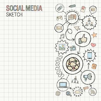 ソーシャルメディアの手描きは、紙に設定されたアイコンを統合します。カラフルなスケッチインフォグラフィックイラスト。接続された落書きピクトグラム。インターネット、デジタル、マーケティング、ネットワーク、グローバルなインタラクティブなコンセプト