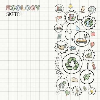 生態学の手は、四角い紙に統合されたアイコンセットを描画します。カラースケッチインフォグラフィックイラスト。接続された落書き絵文字、環境に優しい、バイオ、エネルギー、リサイクル、車、惑星、緑の概念