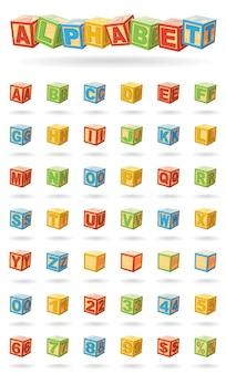 ベビーキューブのアルファベット。色の変更やブロックの回転が簡単。白い背景の上のベクトル図。