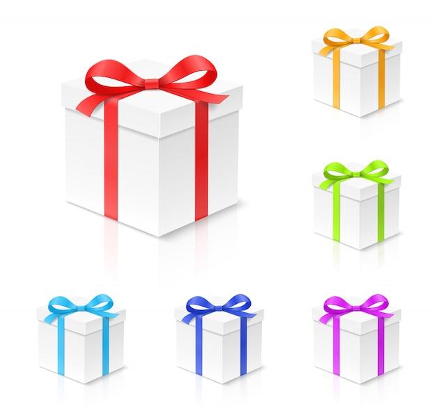 赤、金、青、緑、紫の色の弓の結び目、白い背景の上のリボン入りギフトボックス。お誕生日おめでとう、クリスマス、新年、ウェディングパッケージコンセプト。クローズアップイラスト