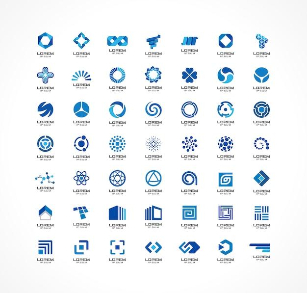 アイコン要素のセットです。事業会社のための抽象的なアイデア。金融、コミュニケーション、エコ、テクノロジー、科学、医療の概念。コーポレートアイデンティティテンプレートのピクトグラム。