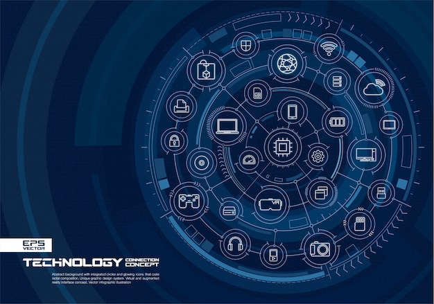Абстрактный фон технологии. система цифрового подключения со встроенными кругами, светящимися тонкими линиями значков. концепция интерфейса виртуальной дополненной реальности. будущая инфографическая иллюстрация